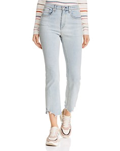 rag & bone/JEAN - Hana Destroyed-Hem Cropped Flared Jeans in Clean Lynn