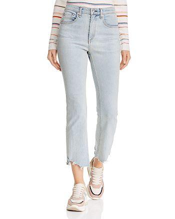 rag & bone/JEAN - Hana Destroyed-Hem Cropped Flared Jeans in Clean Lynn