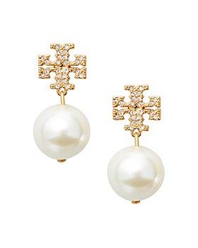 Tory Burch - Crystal Logo & Simulated Pearl Drop Earrings