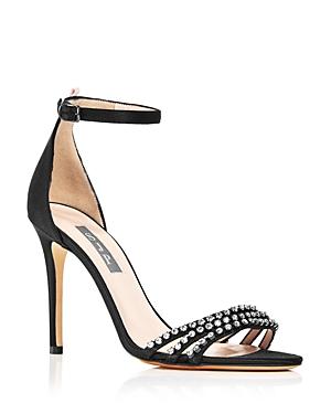 4f474dd930e Sjp By Sarah Jessica Parker Women'S Darcy Embellished Satin High Heel  Sandals in Black