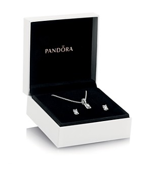 842e04083 Pandora - Sterling Silver & Cubic Zirconia Luminous Ice Pendant Necklace &  Stud Earrings Gift Set ...