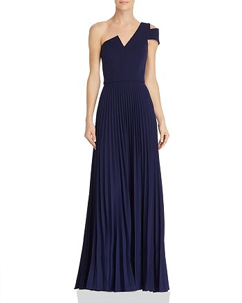 AQUA - One-Shoulder Pleated Gown - 100% Exclusive