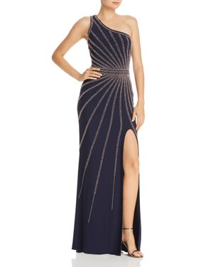 AVERY G One-Shoulder Beaded Gown in Navy/Rose
