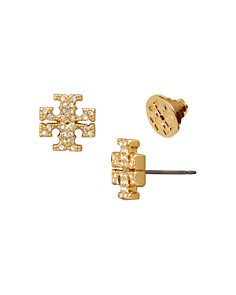 Tory Burch - Crystal Logo Stud Earrings