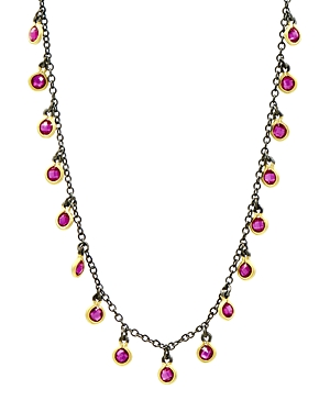 Freida Rothman Color Dangle Necklace in Black Rhodium-Plated Sterling Silver & 14K Gold-Plated Sterling Silver, 15