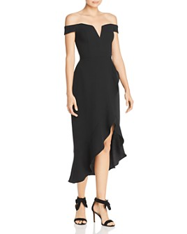 AQUA - Off-the-Shoulder Crepe Midi Dress - 100% Exclusive