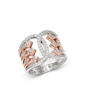 Bloomingdale's - Diamond Art Deco Ring in 14K White & Rose Gold, 0.75 ct. t.w. - 100% Exclusive