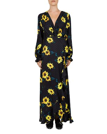 The Kooples - Sunflower & Polka Dot Maxi Wrap Dress