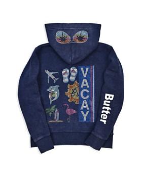 Butter - Girls' Embellished Fleece Vacay Hoodie - Little Kid, Big Kid