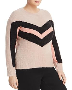 Vince Camuto Plus Textured Chevron Stripe Sweater