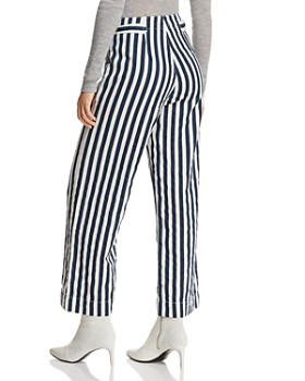 MOTHER - Greaser Cinch Striped Wide-Leg Pants