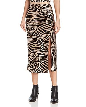 Anine Bing Dolly Silk Zebra-Print Midi Skirt