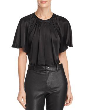 DIVINE HÉRITAGE Cropped Batwing Blouse in Black