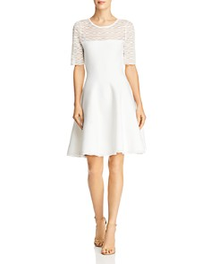 MILLY - Short Sleeve Fit-and-Flare Dress
