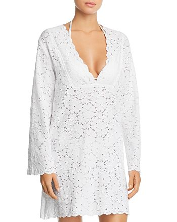 J. Valdi - Flower Child V-Yoke Lace Tunic Swim Cover-Up