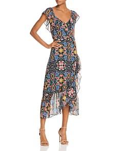 Rebecca Minkoff - Jessica Ruffled Floral Midi Wrap Dress