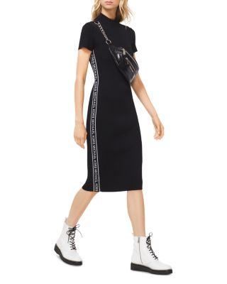 Logo Tape Ribbed Knit Dress by Michael Kors
