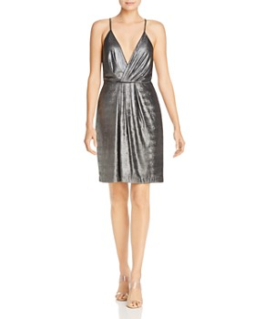 c6f7f679d6 Laundry by Shelli Segal - Pleated Metallic Faux-Wrap Dress ...