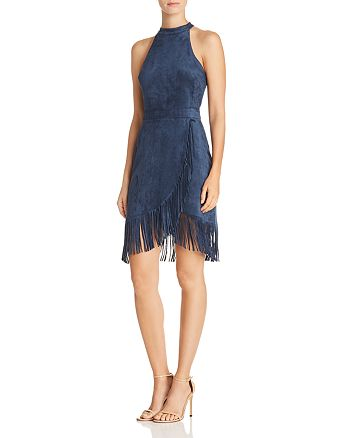 AQUA - Fringed Faux Suede Dress - 100% Exclusive
