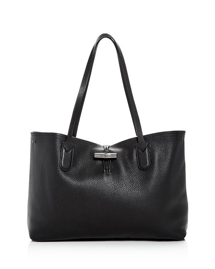 Longchamp Roseau Essential Medium Shoulder Tote In Black/gunmetal