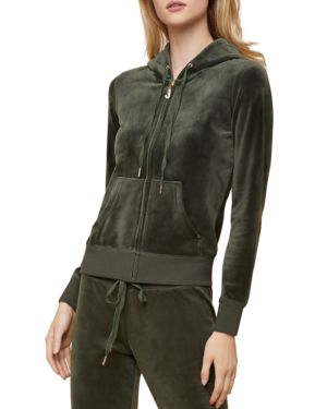 JUICY COUTURE BLACK LABEL Robertson Luxe Velour Hoodie in Dark Moss