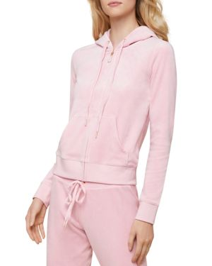 JUICY COUTURE BLACK LABEL Robertson Luxe Velour Hoodie in Pink Shadow