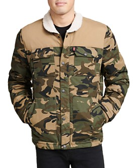 Levi's - Arctic Sherpa-Trimmed Camouflage-Print Quilted Woodsman Trucker Jacket