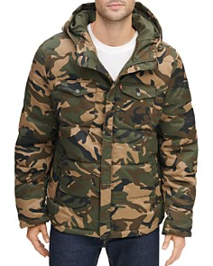 Levi's - Quilted Camouflage-Print Hooded Puffer Jacket