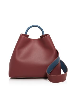 ELLEME Raisin Leather Shoulder Bag in Dust Pink/Blue/Gold