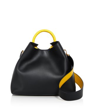 ELLEME Raisin Leather Shoulder Bag in Navy/Yellow/Gold