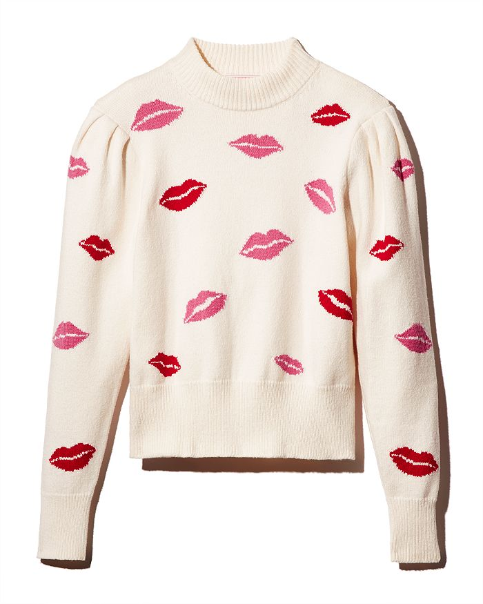 kate spade new york - Mock-Neck Lip Print Sweater