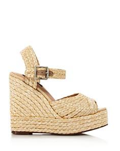 AQUA - Rose Rafia Wedge Espadrille Sandals