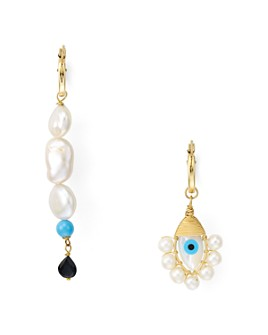 Beck Jewels - Evil Eye Mismatched Drop Earrings