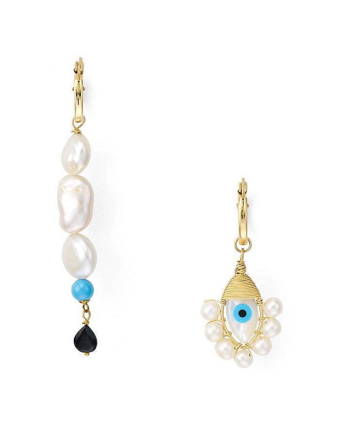 Beck Jewels - Evil Eye Mismatched Drop Earrings