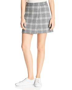 Theory - Plaid Wrap Mini Skirt