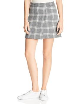 Theory - Plaid Wrap Mini Skirt