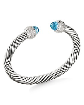 dc212b1bb5 David Yurman - Cable Bracelet with Blue Topaz   Diamonds ...