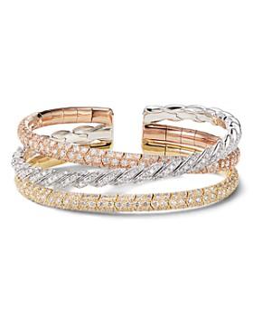 David Yurman - Paveflex Three-Row Bracelet in 18K Gold with Diamonds