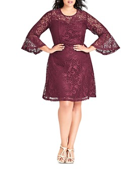 City Chic Plus - Gypsy Bell-Sleeve Lace Dress