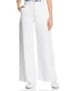 Ksenia Schnaider - Side-Snap Wide-Leg Jeans in White