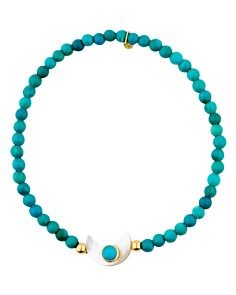 TOUS - 18K Yellow Gold Super Power Turquoise & Mother-Of-Pearl Beaded Stretch Bracelet