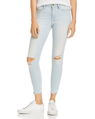 Le High Distressed Ankle Skinny Jeans In Rush by Frame