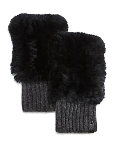Mackage - Racer Knit Rex Rabbit Fur & Cashmere Fingerless Gloves