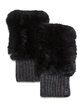 Mackage - Racer Knit Rex Rabbit Fur & Cashmere Fingerless Gloves
