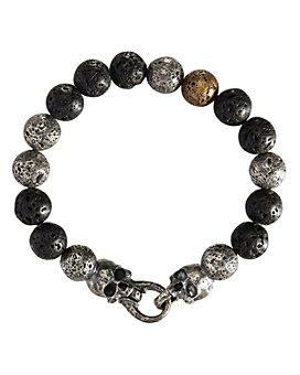 John Varvatos Collection - Sterling Silver, Brass & Lava Bead Artisan Metals Bracelet