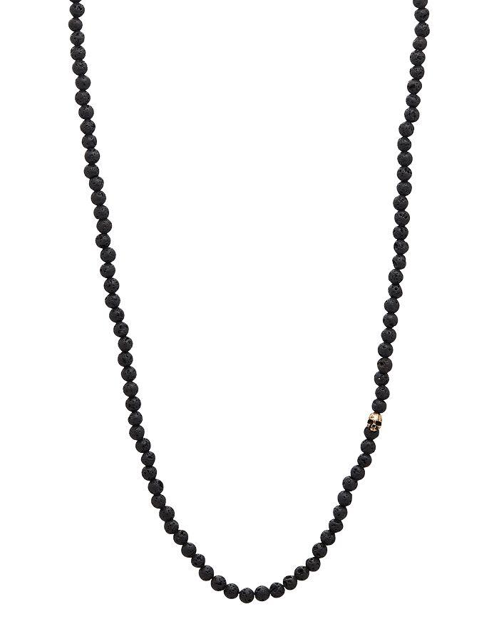 John Varvatos Collection - Mercer Lava Bead & Brass Skull Necklace