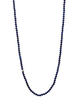 """John Varvatos Collection - Sterling Silver Skull & Lapis Bead Necklace, 24"""""""