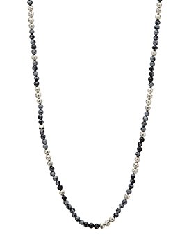 """John Varvatos Collection - Sterling Silver & Gray Obsidian Bead Necklace, 24"""""""