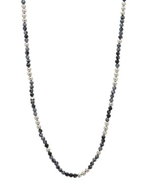 John Varvatos Collection Sterling Silver & Gray Obsidian Bead Necklace, 24
