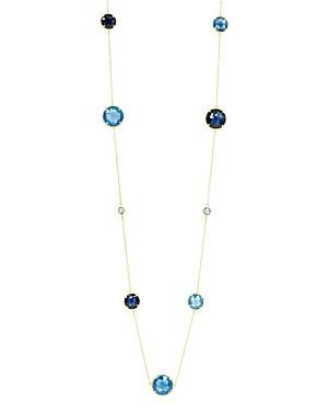 Freida Rothman Imperial Blue Station Necklace in 14K Gold-Plated Sterling Silver, 36